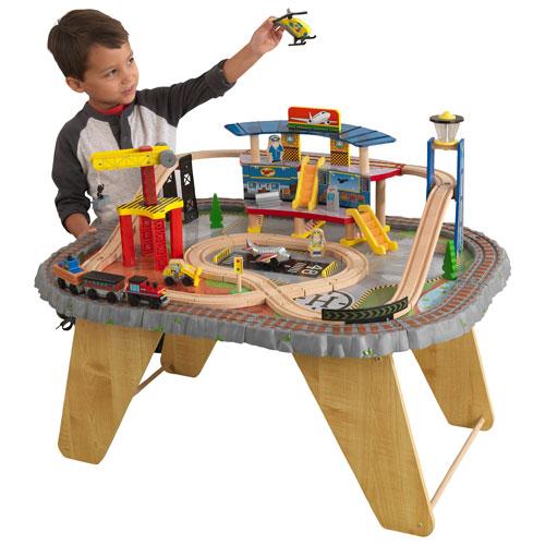 KidKraft Transportation Station 58-Piece Train Set and Table ...