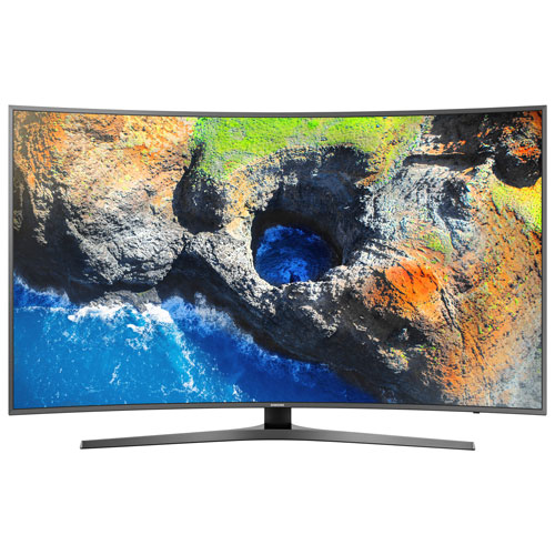 Télé intelligent Tizen incurvé HDR DEL UHD 4K 55 po de Samsung (UN55MU7600FXZC) - Titane foncé - BO