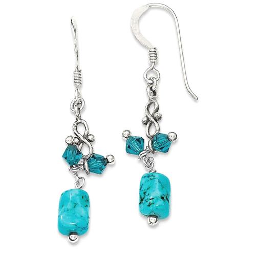 IceCarats 925 Sterling Silver Turquoise Blue Crystal Drop Dangle Chandelier Earrings