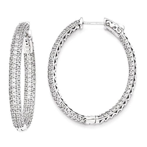 IceCarats 925 Sterling Silver 1.12 Inch Diameter Cubic Zirconia Cz Hoop Earrings Ear Hoops Set For Women Shimmer