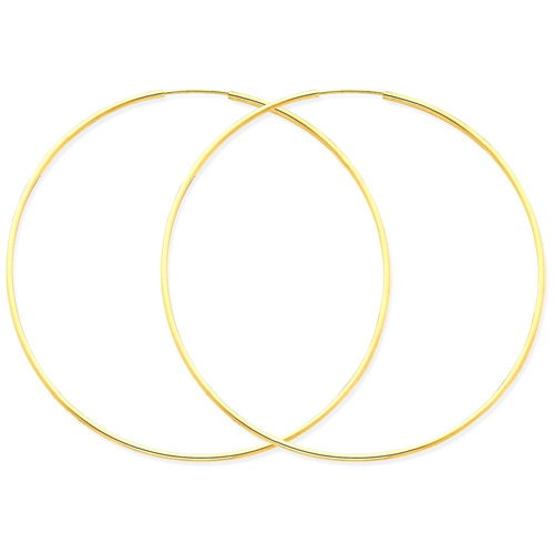 IceCarats 14k Yellow Gold 1.25mm Endless Hoop Earrings Ear Hoops Set For Women Round Endles