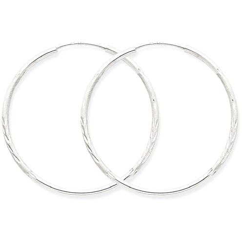 IceCarats 14k White Gold 1.5mm Endless Hoop Earrings Ear Hoops Set For Women Round Endles