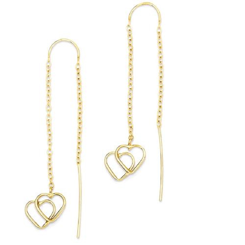 IceCarats 14k Yellow Gold Double Heart Tassel String Threader Earrings Drop Dangle Love