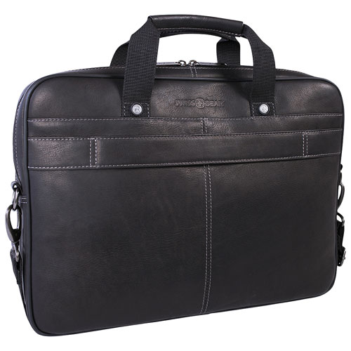"SWISSGEAR Leather 15.6"" Laptop Case - Black"