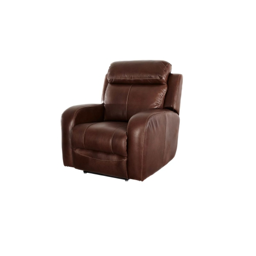 Ashanti Genuine Leather Recliner Chair - Mid Brown