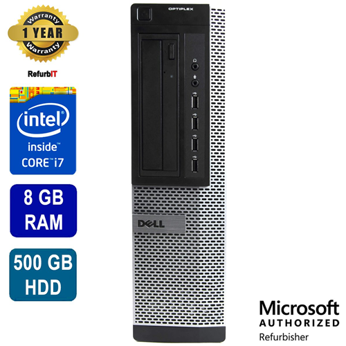 Dell Optiplex 7010, Intel Core i7, 8GB RAM, 500GB HDD, DVD, Win 10 Pro, 1 Year Warranty -- Refurbished
