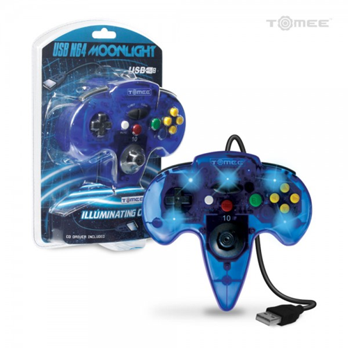 N64-Style USB Controller for PC/ Mac (Clear Blue) - Tomee