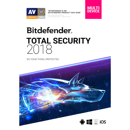 Bitdefender Total Security 2018 (PC/Mac) - 5 Users - 1 Year - English/French
