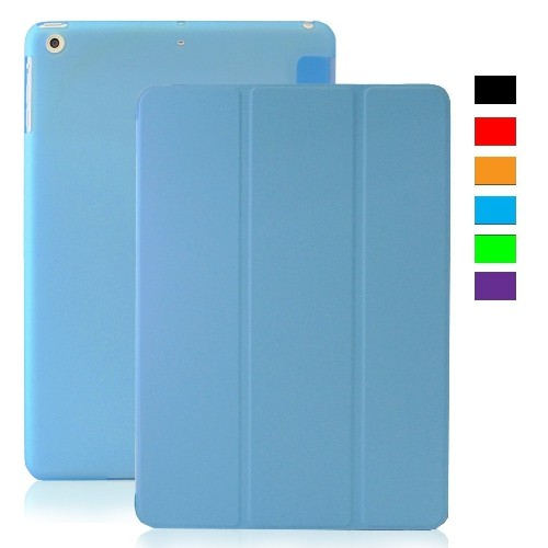 MIIU (TM) Ultra Thin Magnetic Smart Cover Back Case for Apple iPad Air (5th Gen), Blue For Ipad air 1 A1474 A1475 A1476