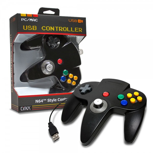 CONTROLLER N64 USB PC/MAC WITH LONG HANDLE BLACK (CIRKA)