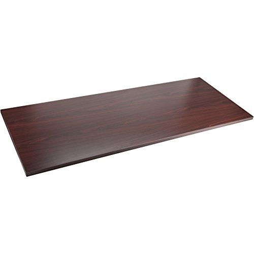 Lorell Quadro Sit/Stand Straight Edge Mahogany Tabletop
