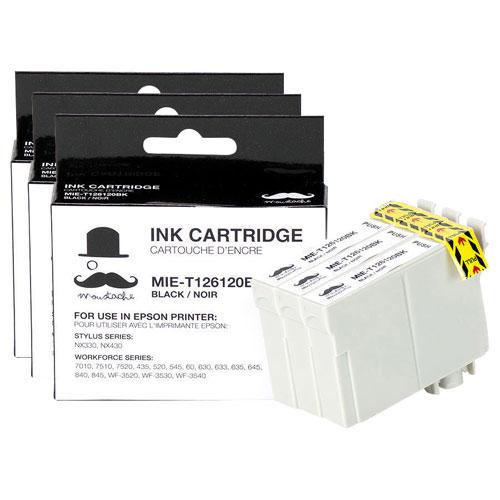 Cartouche d'encre noire de Moustache pour imprimantes d'Epson (T126120) - Paquet de 3