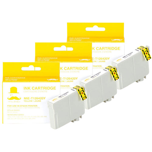 Moustache Yellow Ink for Epson Printers (T126420) - 3 Pack
