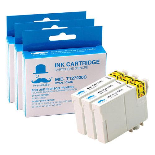 Cartouche d'encre cyan de Moustache pour imprimantes d'Epson (T127220) - Paquet de 3