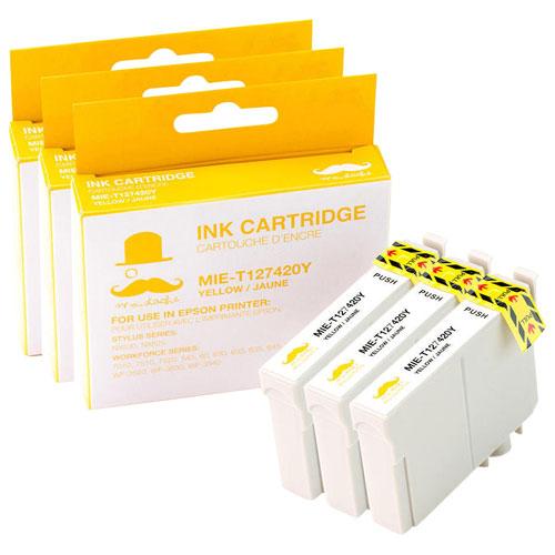 Cartouche d'encre jaune de Moustache pour imprimantes d'Epson (T127420) - Paquet de 3