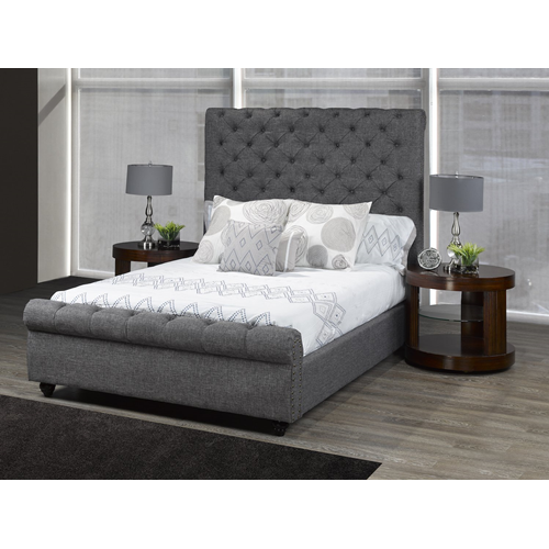 Candace Basil Contemporary Platform Bed King Grey Lits Et