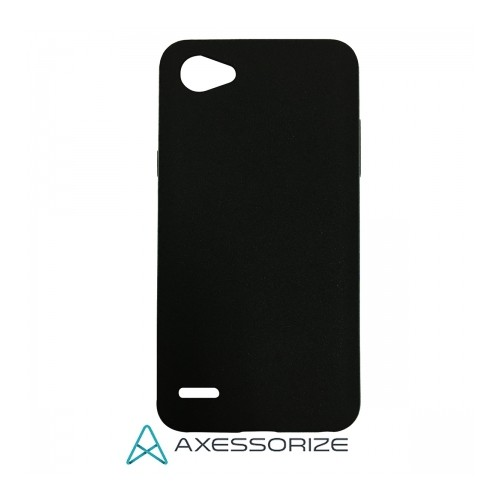Axessorize COMBO Silicone Case LG Q6 Black + Tempered Glass