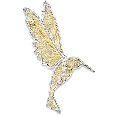 IceCarats 14k Yellow Gold Filigree Hummingbird Pin