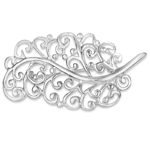 IceCarats 925 Sterling Silver Filigree Leaf Pin