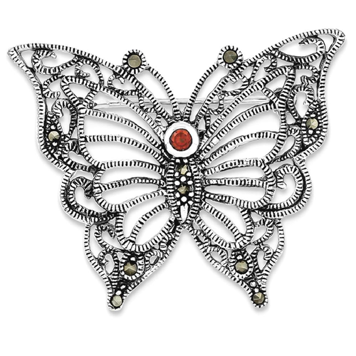 IceCarats 925 Sterling Silver Marcasite Red Cubic Zirconia Cz Butterfly Pin