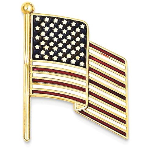 IceCarats 14k Yellow Gold Enameled Flag Tie Tac Men Bar Pin