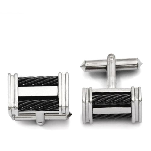 IceCarats Titanium Black Plated Wire Cuff Links Mens Cufflinks Men Link