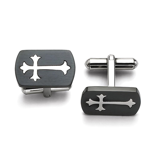 IceCarats Stainless Steel Brushed Black Plated Cross Religious Cuff Links Mens Cufflinks Men Link