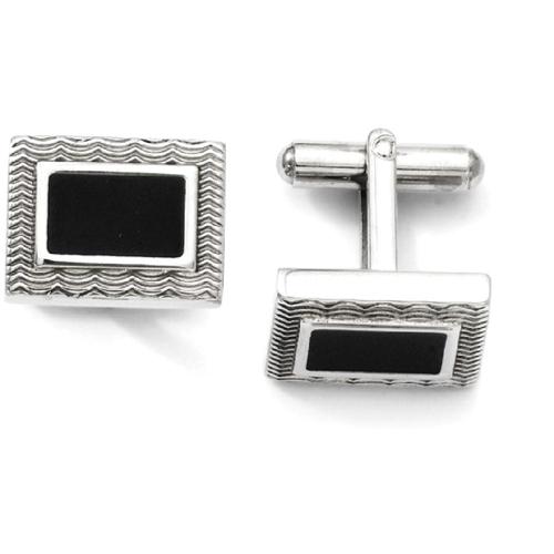IceCarats Stainless Steel Black Enamel Cuff Links Mens Cufflinks Men Link