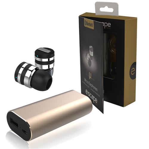 0ceff289b82 Escape Micro Ecouteur Bluetooth Sans-Fil Miniature Combo Bloc  D'alimentation Et Etui