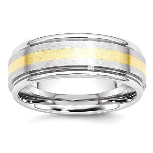 IceCarats Cobalt 14k Gold Inlay 8mm Wedding Ring Band Size 7.00 Preciou Metal