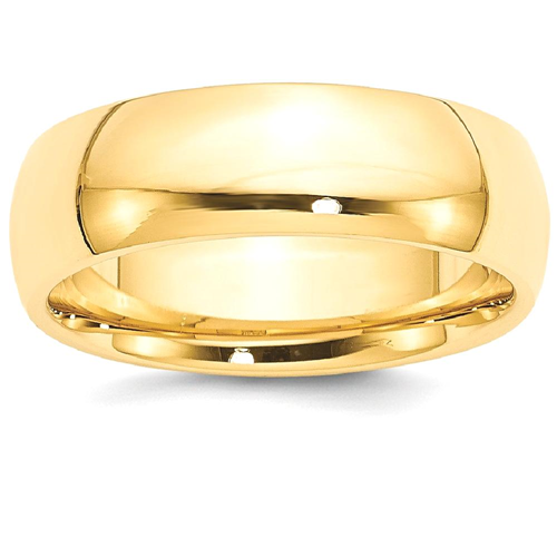 Icecarats 14k Yellow Gold 7mm Comfort Fit Wedding Ring Band Size