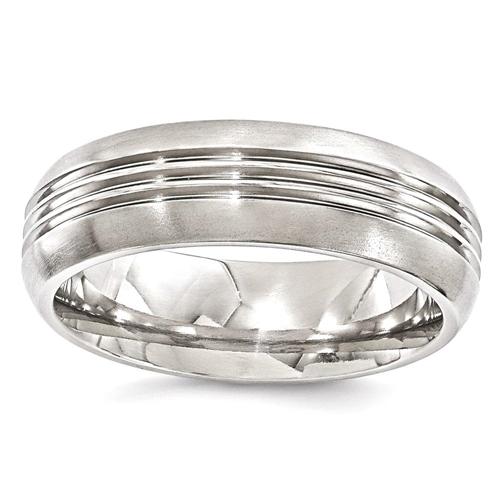 IceCarats Edward Mirell Titanium Grooved 7mm Wedding Ring Band Size 9.50 Men