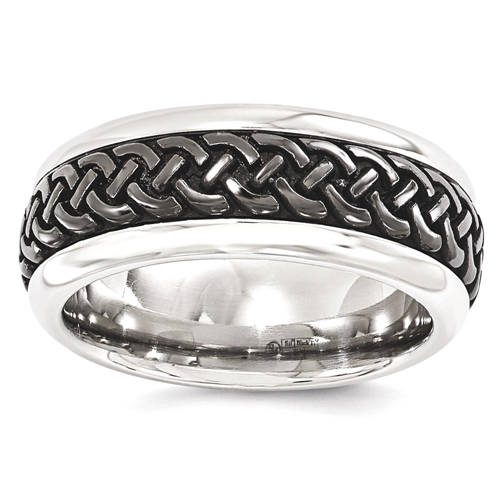 IceCarats Edward Mirell Stainless Steel Black Titanium Casted 9mm Wedding Ring Band Size 10.00 Men Fancy Type Of