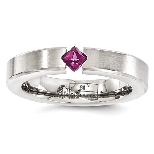 IceCarats Edward Mirell Titanium Brushed Rhodolite Red Garnet 4mm Wedding Ring Band Size 8.00 Stone Gemstone