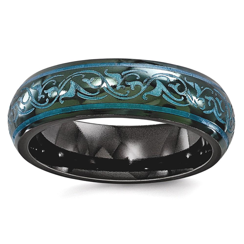 IceCarats Edward Mirell Black Titanium Domed Anodized Teal 6mm Wedding Ring Band Size 7.50 Classic Fancy Designed