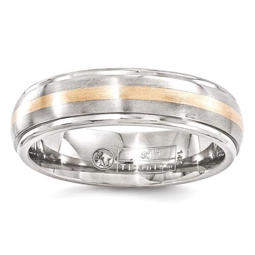 IceCarats Edward Mirell Titanium 14k Rose Gold Brushed 6mm Wedding Ring Band Size 7.00 Men Preciou Metal Classic Domed Wedge