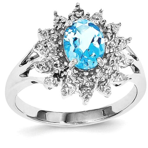 IceCarats 925 Sterling Silver Swiss Blue Topaz Diamond Band Ring Size 7.00 Stone Gemstone
