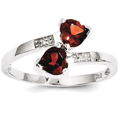 IceCarats 925 Sterling Silver Red Garnet Diamond Heart Band Ring Size 7.00 Love Stone Gemstone