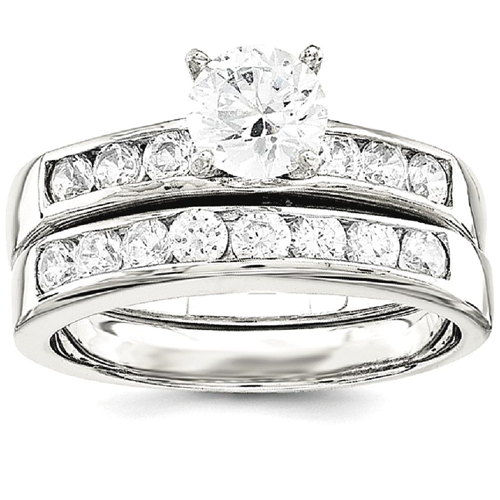 Icecarats 925 Sterling Silver 2 Piece Cubic Zirconia Cz Wedding Set Band Ring Size 6 00 Engagement