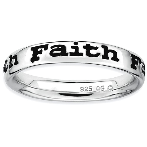 IceCarats 925 Sterling Silver Enameled Faith Band Ring Size 8.00 Stackable