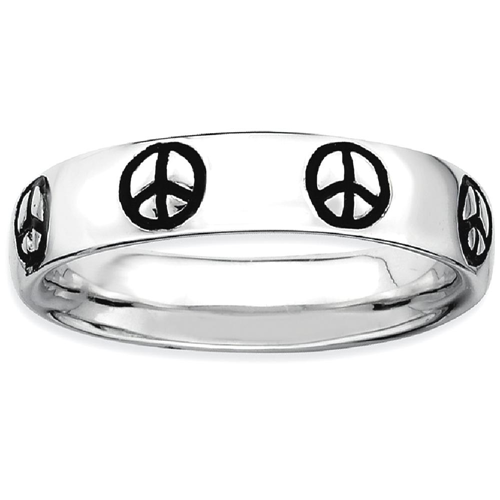 IceCarats 925 Sterling Silver Enameled Peace Sign Band Ring Size 6.00 Stackable
