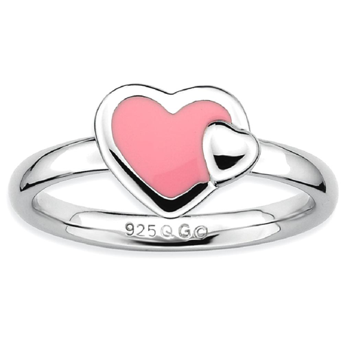 IceCarats 925 Sterling Silver Pink Enameled Heart Band Ring Size 5.00 Love Stackable