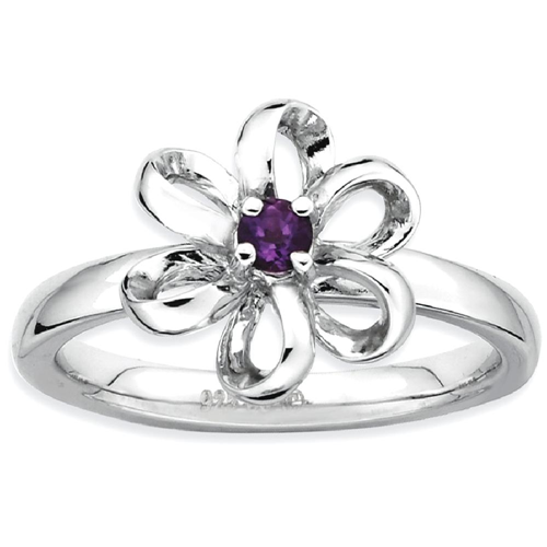 IceCarats 925 Sterling Silver Purple Amethyst Flower Band Ring Size 9.00 Leaf Stackable Gemstone Birthstone February