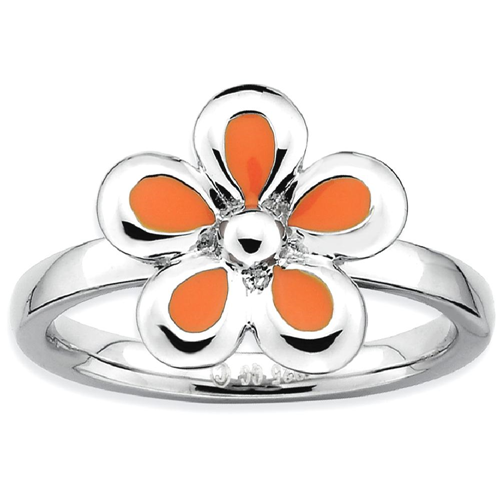 IceCarats 925 Sterling Silver Orange Enameled Flower Band Ring Size 8.00 Stackable