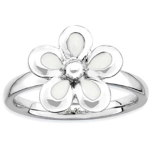 IceCarats 925 Sterling Silver White Enameled Flower Band Ring Size 5.00 Stackable