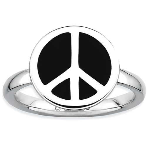 IceCarats 925 Sterling Silver Black Enameled Peace Sign Band Ring Size 8.00 Stackable