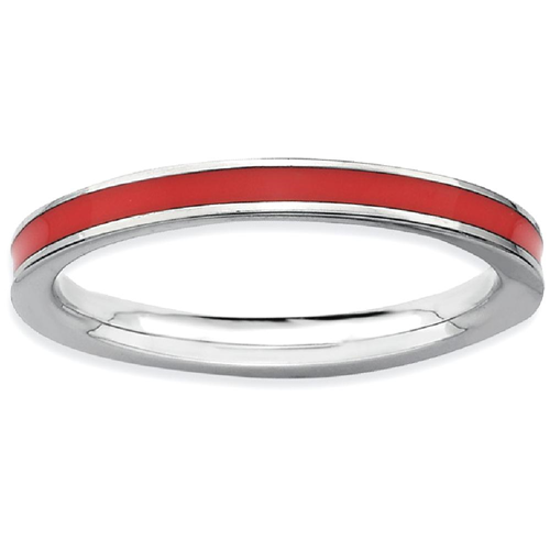 IceCarats 925 Sterling Silver Red Enameled 2.25mm Band Ring Size 8.00 Stackable Ed