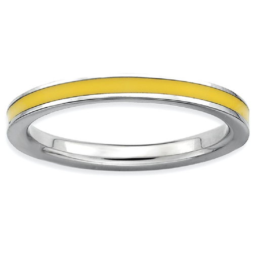 IceCarats 925 Sterling Silver Yellow Enameled 2.25mm Band Ring Size 8.00 Stackable Ed