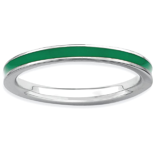 IceCarats 925 Sterling Silver Green Enameled 2.25mm Band Ring Size 10.00 Stackable Ed