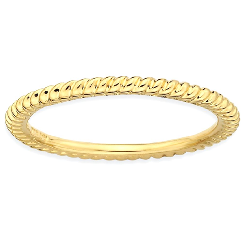 IceCarats 925 Sterling Silver Gold Plated Twisted Band Ring Size 6.00 Stackable Fancy